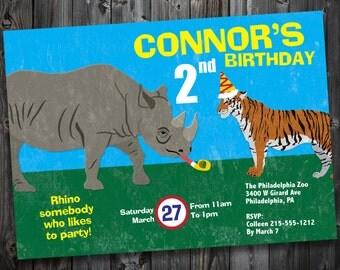 Printable Rhino & Tiger Birthday Party Invitation (ZA003)