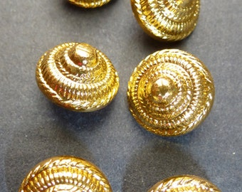 6 Rather Splendid Vintage 12mm Gold Sea Shell Buttons