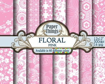 Pink Floral Digital Paper: Gray Digital Polkadot Pattern - Flowers Scrapbook Paper with Pink Printable Floral Shapes