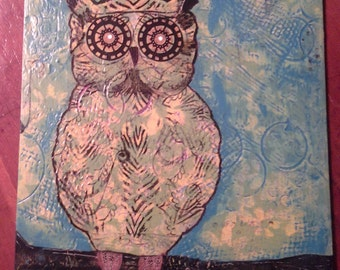 Owl Mixed Media with texture & blue, green paint and gear eyes
