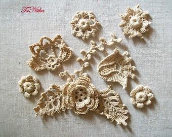 Crochet Applique Ivory Flowers Irish Lace Decoration of Clothes Handwork Home Decor Embellishment