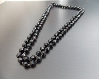 "Vintage Jet Black Glass Bead  49"" Necklace, Vintage Jewelry"