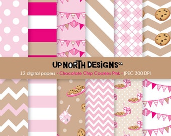 Chocolate Chip Cookies Digital Paper Cookies Scrapbooking Digital Paper Pink Paper Set Milk bunting Clipart  Personal and Commercial Use
