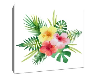 Tropical Bouquet, Tropical Watercolor Gallery-Wrapped Canvas