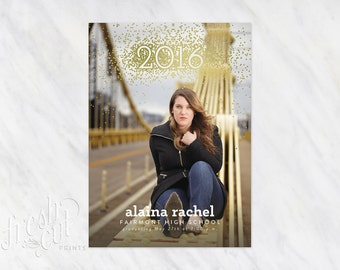 Printed Glitter Graduation Announcement Cards with Photos for 2016 Grad