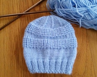 Knitted baby hat, size 3-6 months, blue color