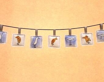 Nursery Decor, Image Garland, Bird Garland, Fabric Image Banner