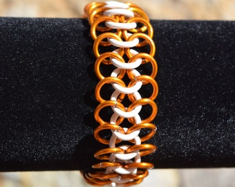 Orange and White 4 in 1 Chainmail Stretch Bracelet