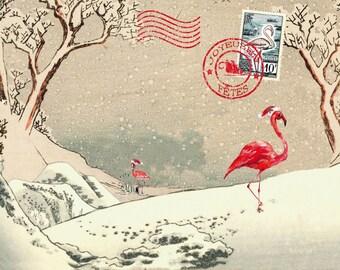 Japanese flamingos in the snow (10x15cm) greeting card / flamingo christmas card
