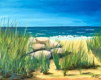 Strand und Meer, Acrylmalerei auf Leinwand