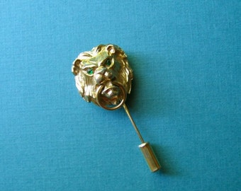 Lion Stick Pin with Green Rhinestone Accents