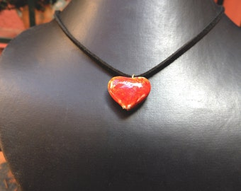 Heart pendant in red stoneware