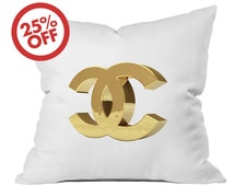 "Chanel print, chanel pillow, fashion cushions, fashion pillow, Guest Room Decor, coco chanel bedroom, Decor Pillow, 15,7"" x 15"" (40 x 38 cm)"