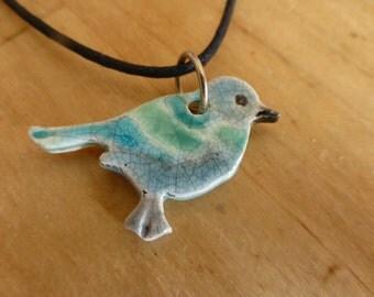 Blue Bird, porcelain necklace