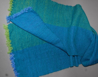 hand woven scarf in blues and greens