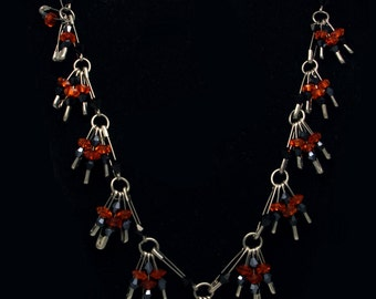 Orange Crystal and Black Bead Safety Pin Necklace