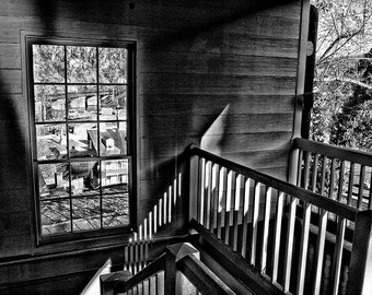 HARPERS FERRY STAIRWAY, photography, black and white, historic photography, historic building, Harpers Ferry, wall art, GeddieGallery