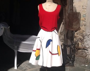 "Skirt cotton and ""applied"" Miro"