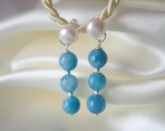 Aquamarine earrings Pearl Earrings aquamarine Pearl Earrings