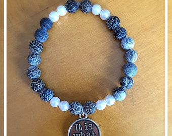 Navy Agate and Pearl It Is What It Is Beaded Bracelet