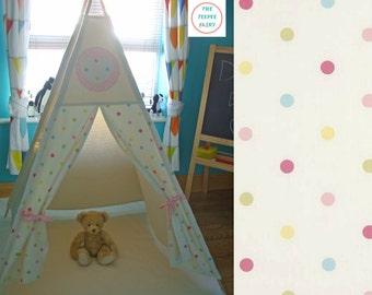 Teepee, Kids Teepee, Play Tent, Childrens Teepee, Polkadots, Tipi, Tepee, Large Teepee, Wigwam, Fabric Playhouse, Fort, 100% Cotton Canvas