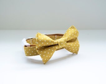 Bow Tie Collar | Mustard and White Dot Bow Tie | Dog & Cat