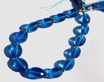 1/2 Strand 7 pcs 9x10-11x15 mm Swiss Blue Quartz Chakker Cut Barrel Beads, Semiprecious Beads BR41