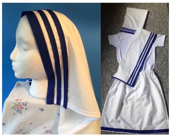 Catholic Nun/Little Saints Costumes/Mother Teresa/Girls Sizes small 6 to large 16