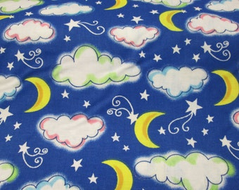 fabrics blue background with Moon and cloud