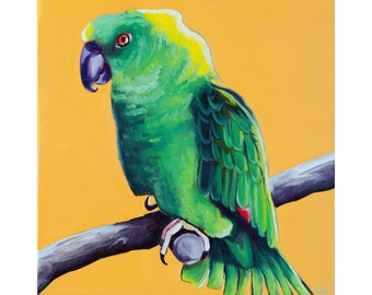 Yellow Napped Amazon Green Parrot Portrait- Fine Art Giclee PRINT [Yellow napped, parrot portrait, bird, oil painting]