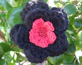 Hand crocheted layered flower brooch in black and red