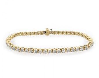 6.50 Carat Diamond Four Prong Tennis Bracelet 14K Yellow Gold