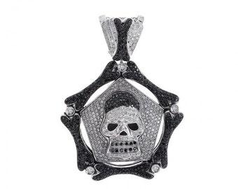 4.00 Carat Black & White Diamond Skeleton Skull Charm Pendant 14K White Gold