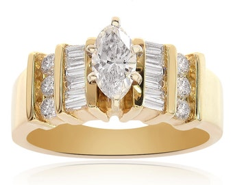 1.00 Carat F-SI1 Natural Marquise Cut Diamond Engagement Ring 14K Yellow Gold