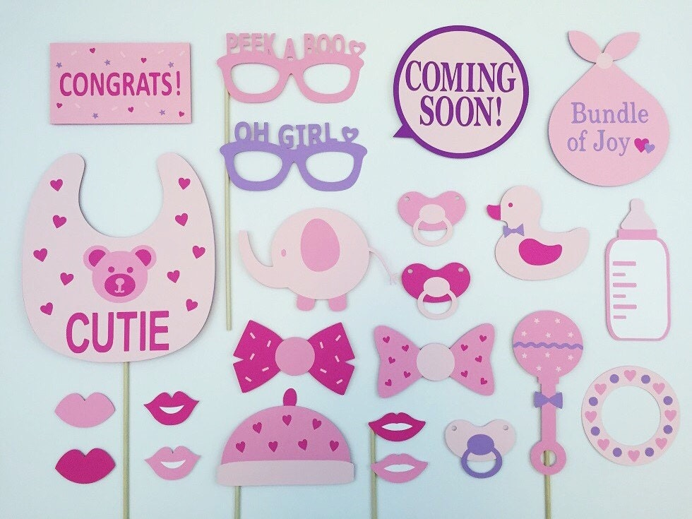 baby girl photo booth props baby shower party by raiseyourprops