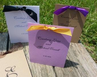 Perfect Little Program / Personalized Wedding Program Set / Tent Style