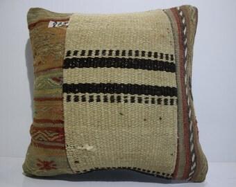 kilim patchwork pillow cover 16x16 pathcwork kilim cushion cover vintage kilim pillow cover throw pillow flat woven cushion cover SP4040-879