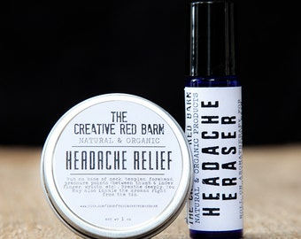 Organic Headache Relief Kit ~ Salve for Headaches ~ Aromatherapy Stress Relief, Cooling and Refreshing, Gift for Coworker, Stocking Stuffer