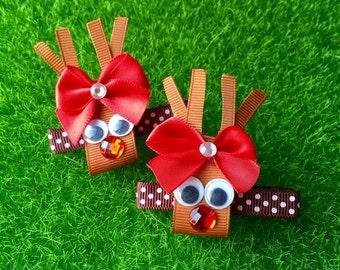 Handmade Christmas Alligator Hairclip - Rudolph for girls