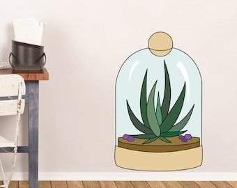 Aloe Vera Terrarium Wall Decal PC0284