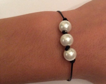Triple Pearl and Leather Bracelet