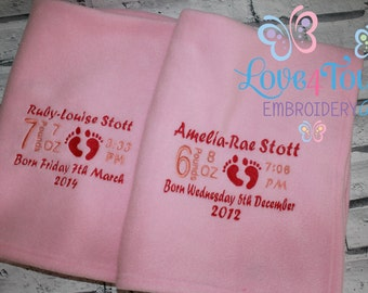 Personalised Birth Details Blanket With Baby Feet Design
