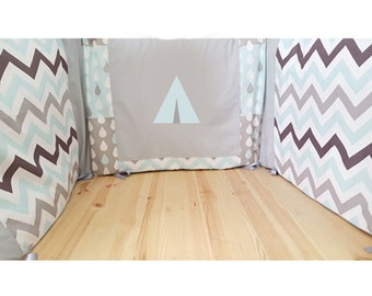 Round bed Tepee / round bed blue and gray / round bed baby boy / baby bedding / baby room / bed 60 x 120 cm / handmade