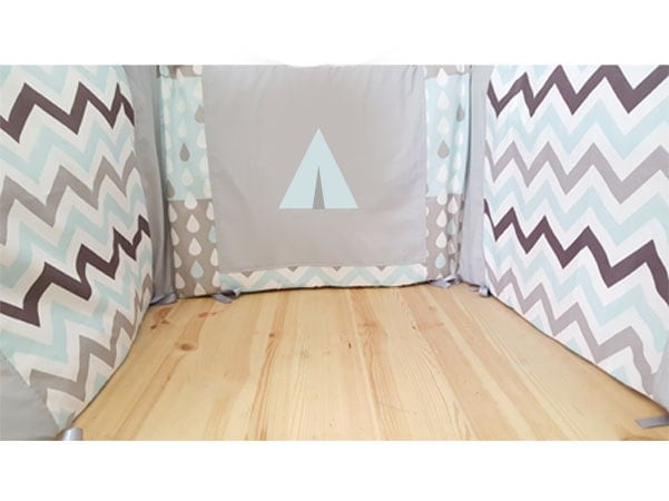 rundes bett tipi runde bett blau und grau runden bett baby. Black Bedroom Furniture Sets. Home Design Ideas