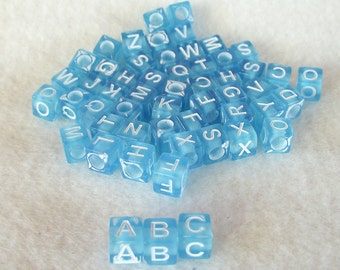 """50 Mixed 1/4"""" (6mm) Square Blue Acrylic Letter Beads With 1mm Hole For Beading"""