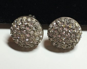 Vintage Signed Roman Rhinestone Crystal Round Earrings