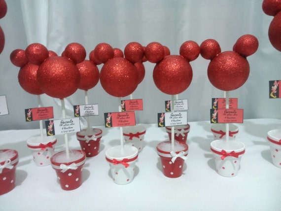 Minnie mouse red centerpieces topiary by toodletownboutique