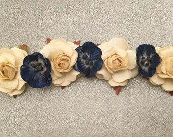 Floral hair crown headbands