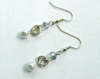 Silver Chainmaille Earrings, Blue/Clear, Chainmaille Earrings, Mobius