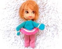 Vintage 1960s Liddle Kiddles Freezy Sliddle Doll Mattel 60s Action Figure Toy EUC Clothes Short Brown Hair Cute Small Tiny Retro Winter Snow